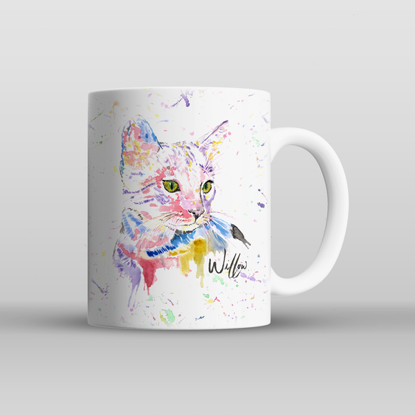Cat Rainbow Watercolour Mug