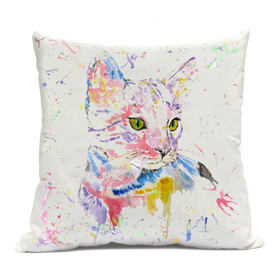 Rainbow Cat Cushion Cover