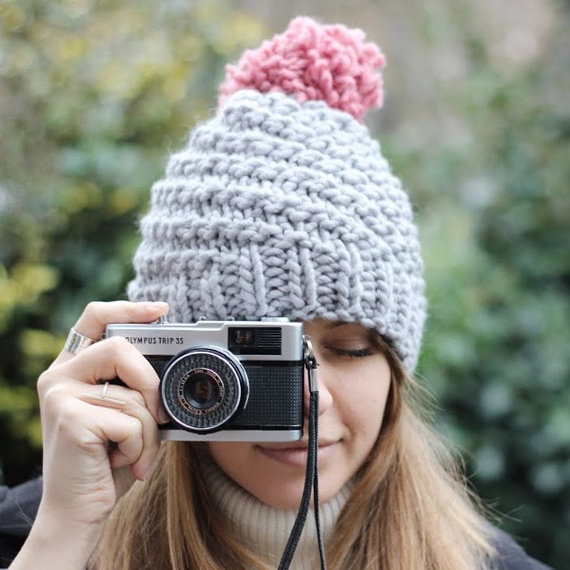Pom hat knitting kit