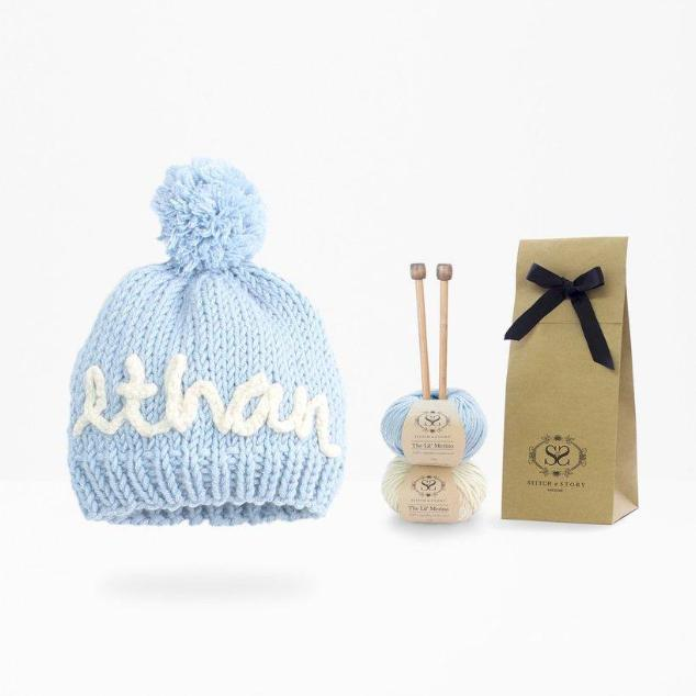 Personalised blue hat knitting kit