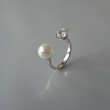 Bead stone silver ring