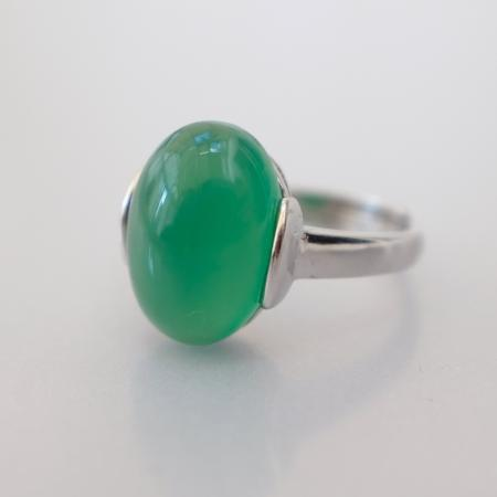 Green agate silver ring