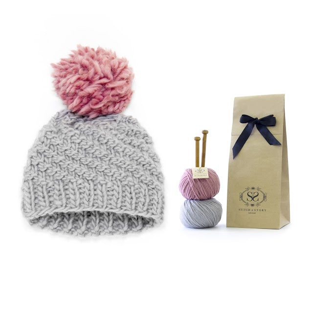 Grey pom hat knitting kit