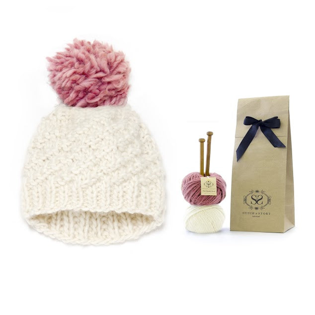 Ivory pom hat knitting kit