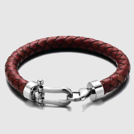 Braided red leather bracelet