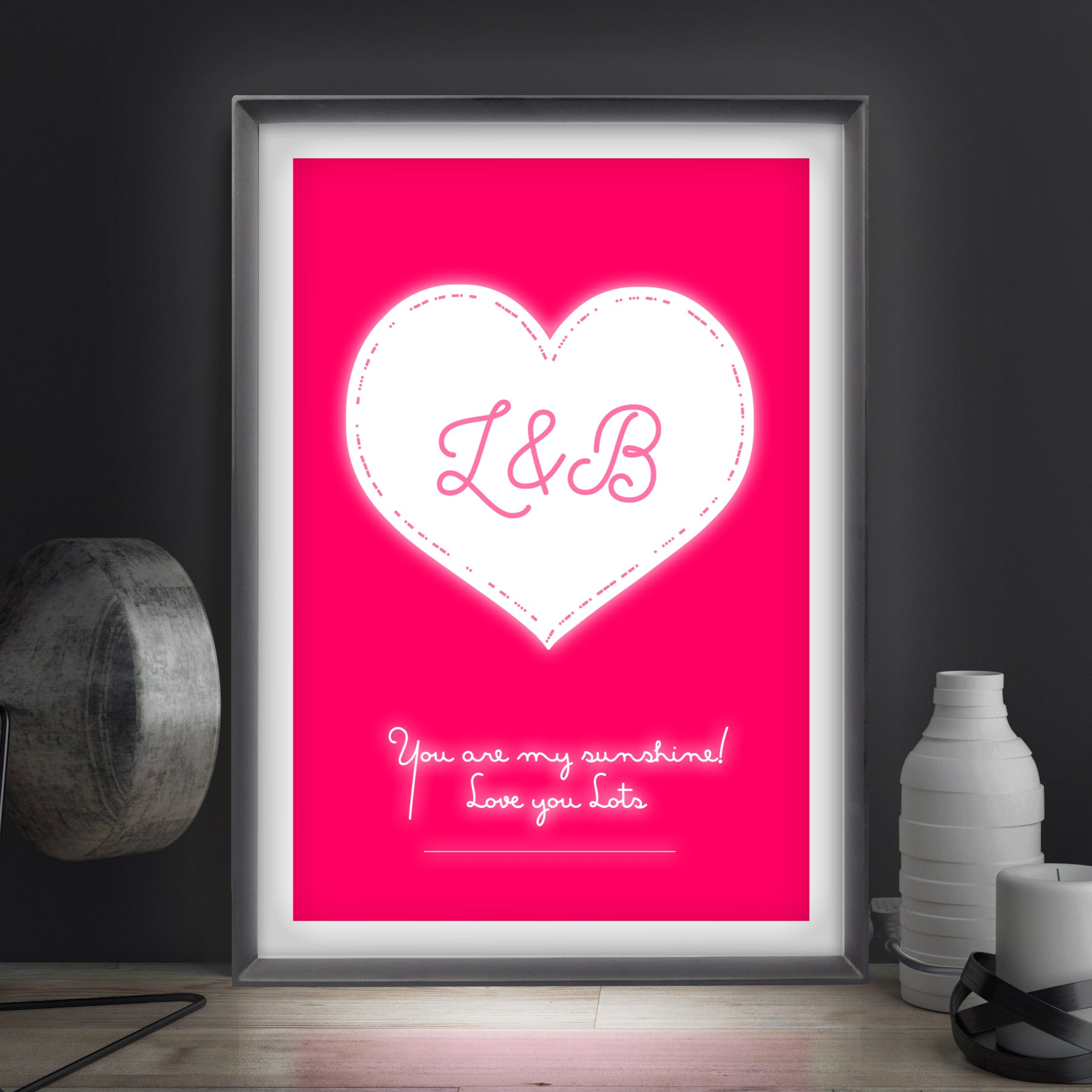 Morse heart personalised light box