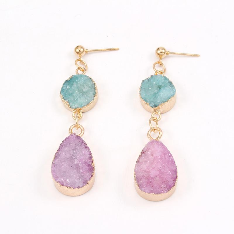 Druzy Crystal Drop Earrings