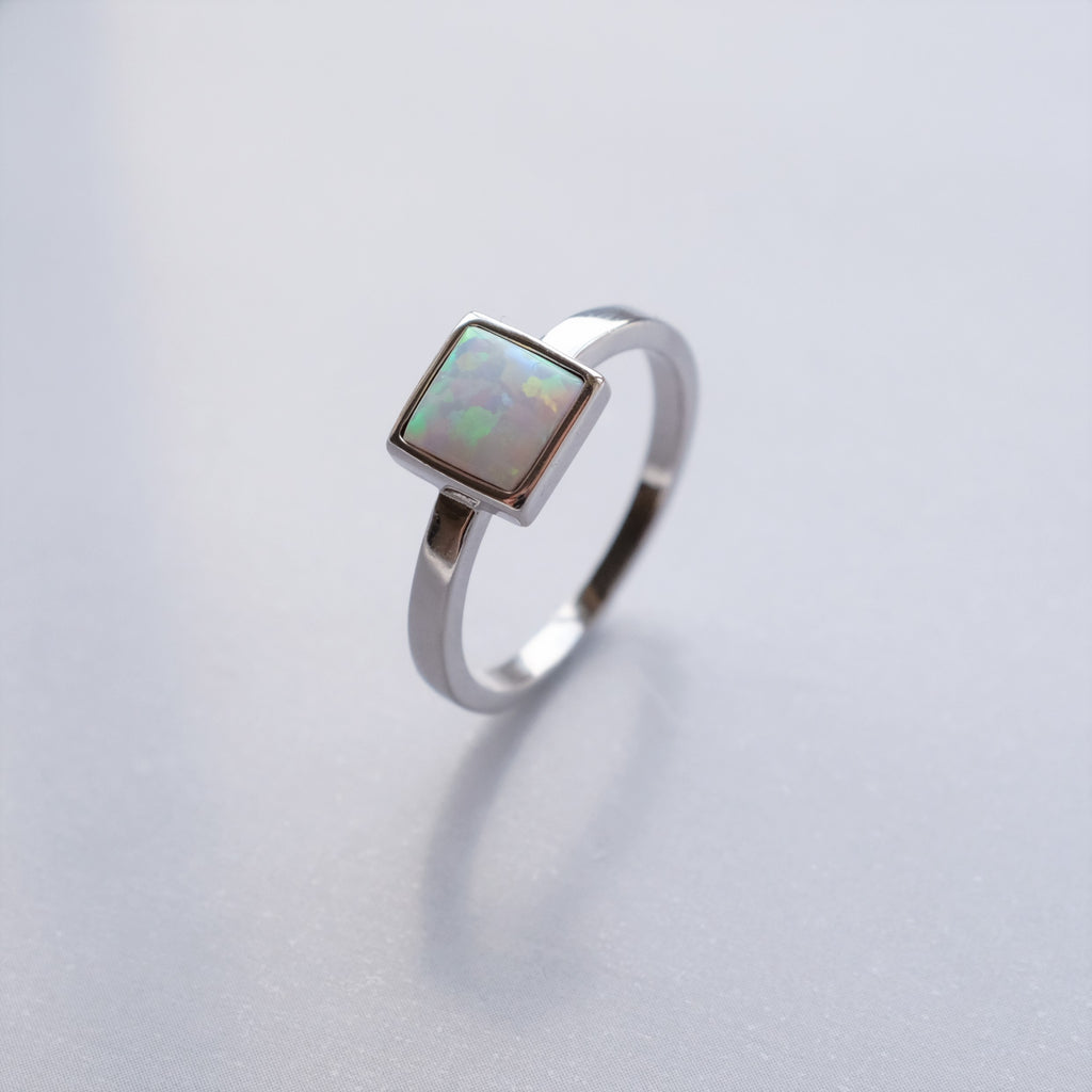 Square opal silver ring