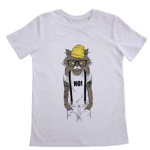 Cat human animal white t-shirt