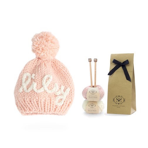 Personalised pink hat knitting kit