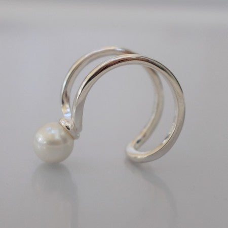 Chick pearl silver ring
