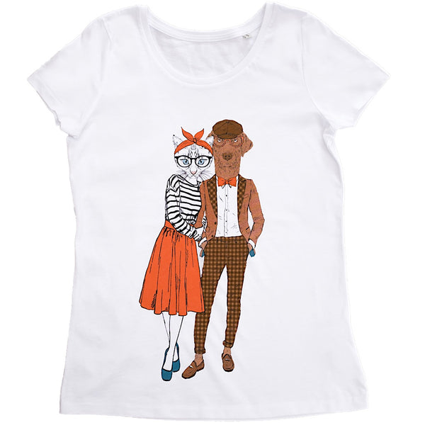 Cat couple women t-shirt