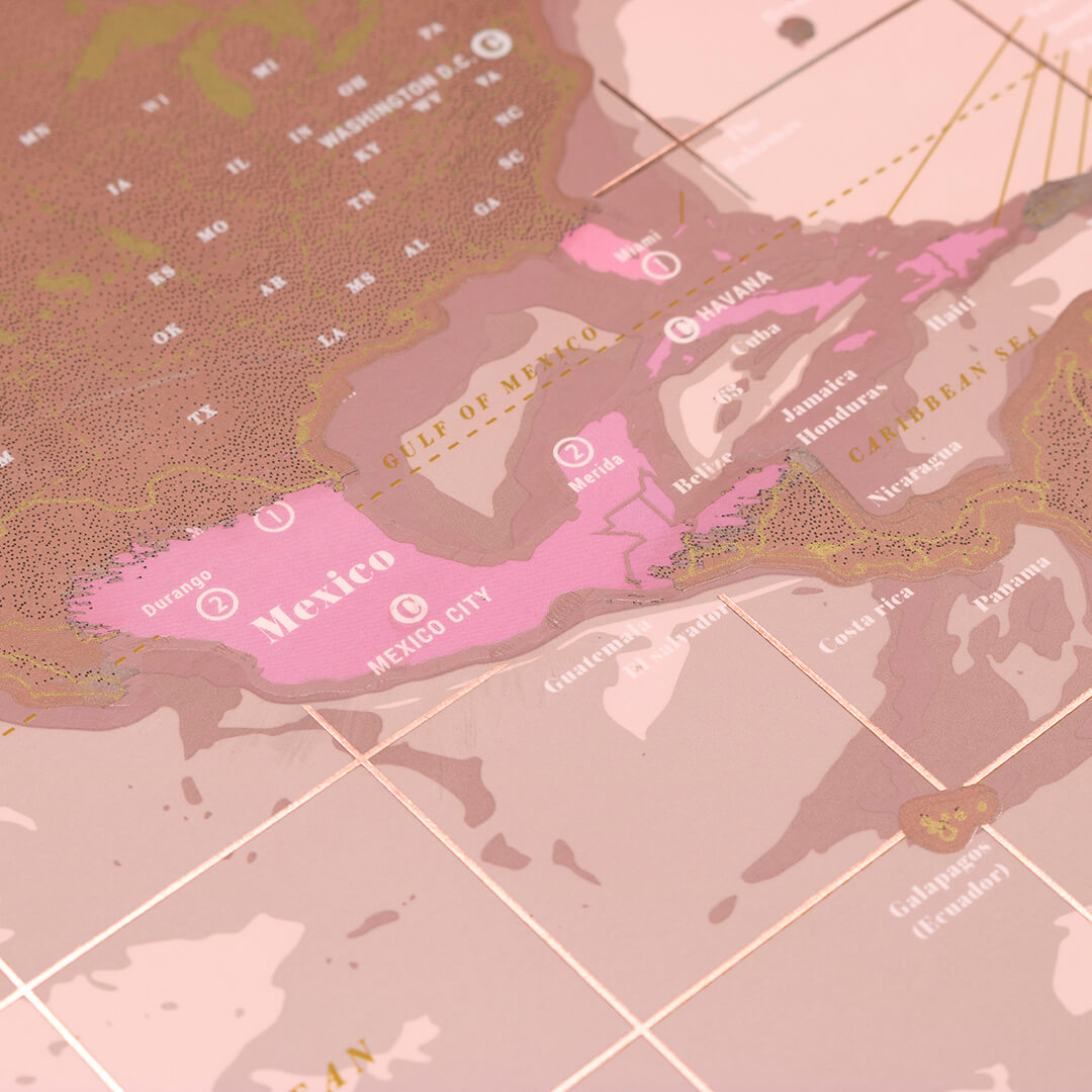 Scratch world map rose gold