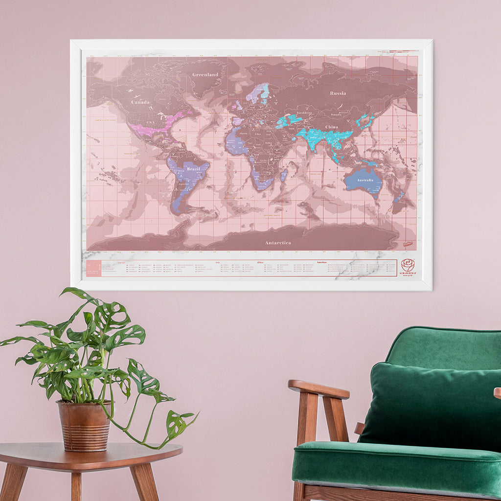 Scratch world map rose gold edition