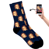 Face on socks navy