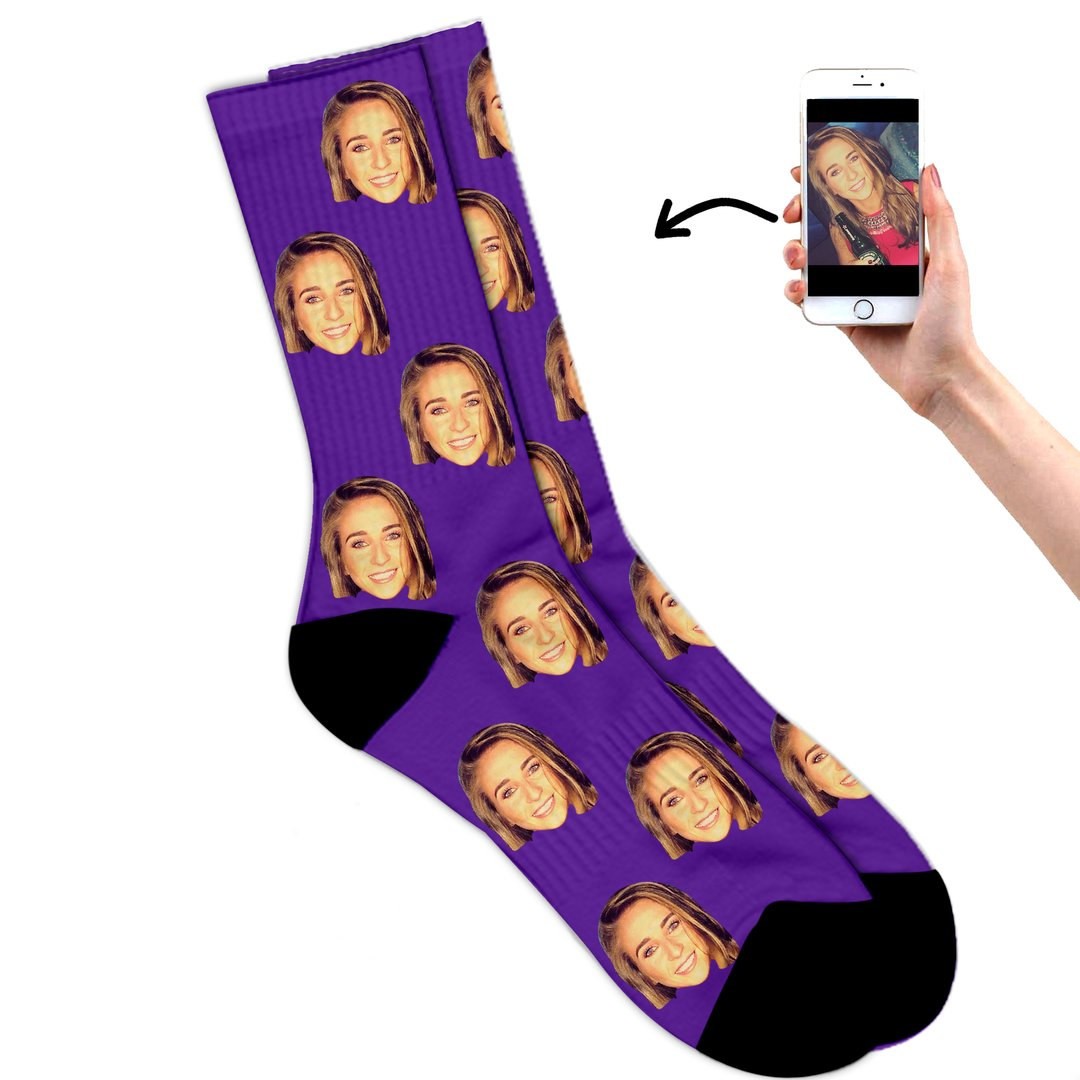 Face on socks purple