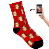 Face on socks red