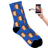Face on socks blue