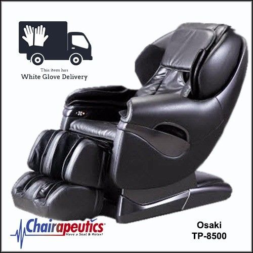Osaki Black TP-8500 L-Track Zero Gravity Space Saving Massage Chair White Glove