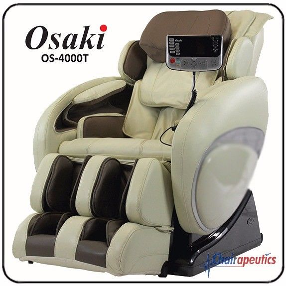 Cream Osaki OS-4000T Massage Chair Zero-G Foot Rollers S-Track Body Scan Heat