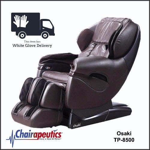 Osaki Brown TP-8500 L-Track Zero Gravity Space Saving Massage Chair White Glove