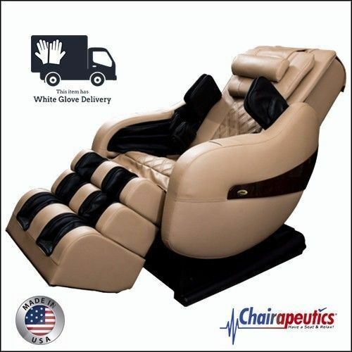 Cream Luraco Legend PLUS L-Track Zero-G Massage Chair - White Glove Delivery