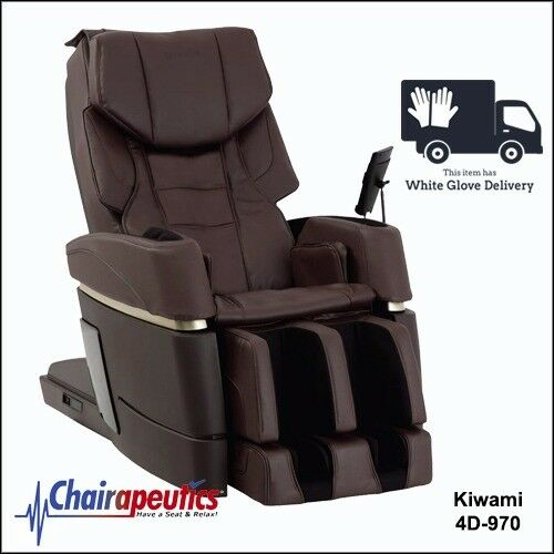 Brown Kiwami 4D-970 Massage Chair Japan Touch Screen Bed Position & White Glove