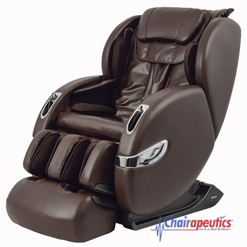 Brown Titan Lucas L-Track Zero-G Customizable Calf Massage Chair Bluetooth