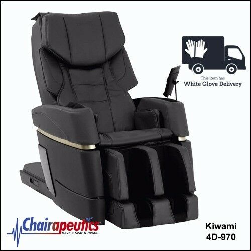 Black Kiwami 4D-970 Massage Chair Japan Touch Screen Bed Position & White Glove