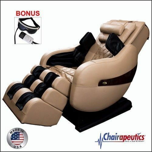 Cream Luraco Legend PLUS L-Track Zero-G Massage Chair Bonus Eye Massager U.S.A.