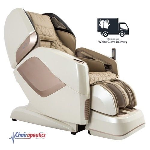 Cream Osaki OS-Pro Maestro L&S Track Heated Rollers Massage Chair + White Glove