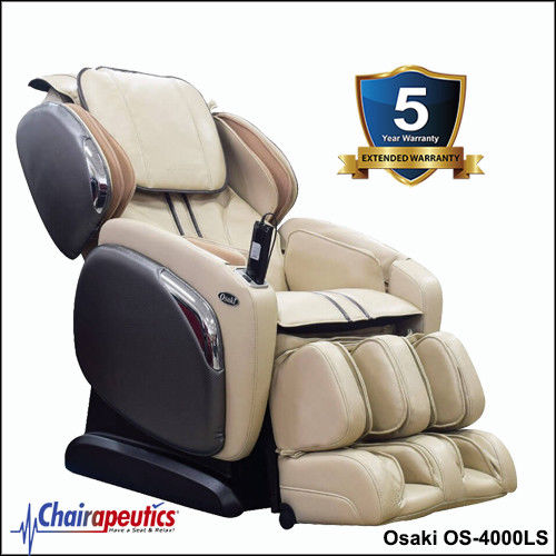 Cream Osaki OS-4000LS L-Track Massage Chair With 5 Year Extended Warranty