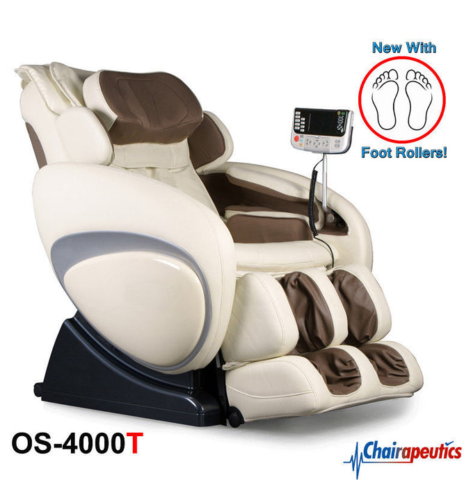 Osaki OS-4000T Cream ZERO GRAVITY Recliner Massage Chair with Foot Rollers!