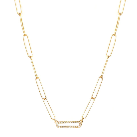 Single Pave Link Necklace - Impulse Jewelry and Accessories