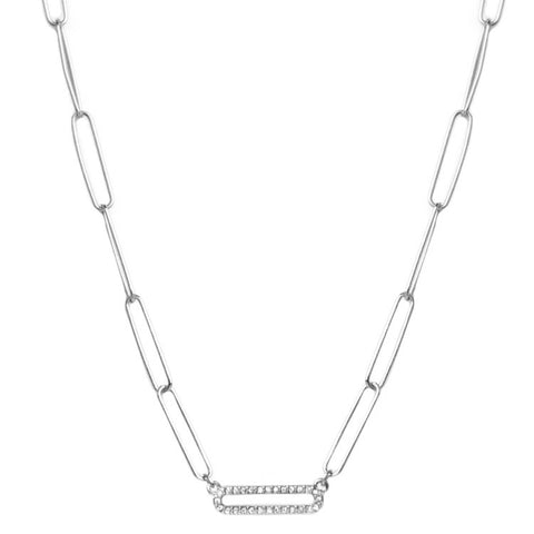 Silver Paperclip Necklace with Pave Bar - Impulse Jewelry and Accessories