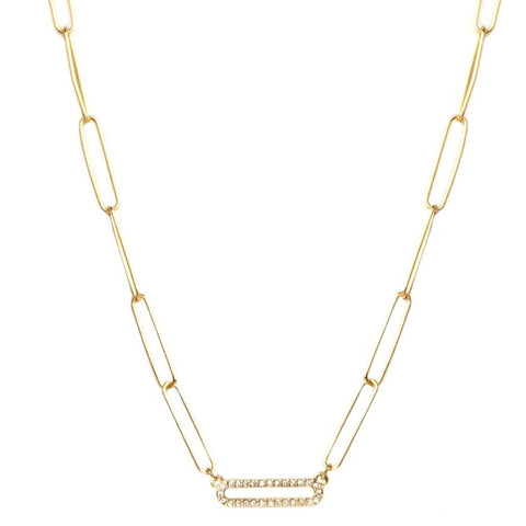 Gold Paperclip Necklace With Pave Bar - Impulse Jewelry and Accessories