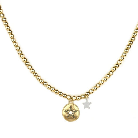 Gold Star Charm Beaded Brass Ball Necklace - Impulse Jewelry and Accessories