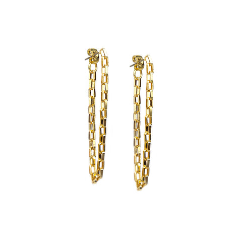 Gold Box Chain Drape Post Earring - Impulse Jewelry and Accessories