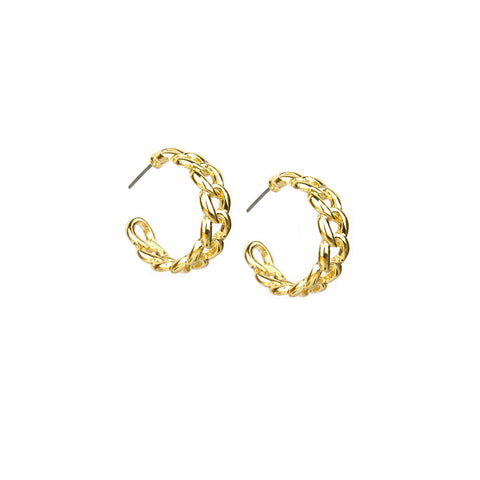 Gold Curb Chain Hoop - Impulse Jewelry and Accessories