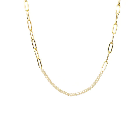 Gold/Champagne Chain Link and Crystal Necklace - Impulse Jewelry and Accessories