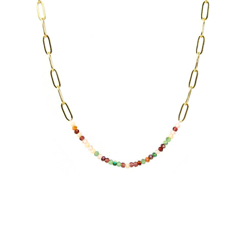 Gold/Summer Chain Link and Crystal Necklace - Impulse Jewelry and Accessories