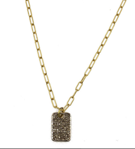 Diamond Mini Dog Tag Necklace - Impulse Jewelry and Accessories