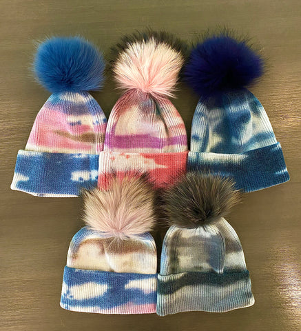 Tie Dye Pom Pom Hat - Impulse Jewelry and Accessories