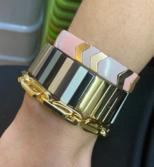 Wide Enamel Tile Bracelet - Impulse Jewelry and Accessories