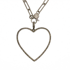 Pave Open Heart Pendant - Impulse Jewelry and Accessories