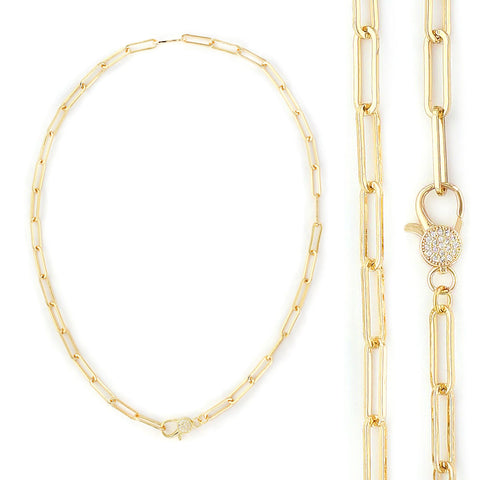 Paperclip Chain Necklace with Pave Crystal Lock - Impulse Jewelry and Accessories