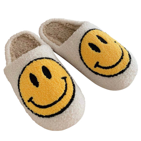 Fuzzy Sherpa Smiley Face Slippers