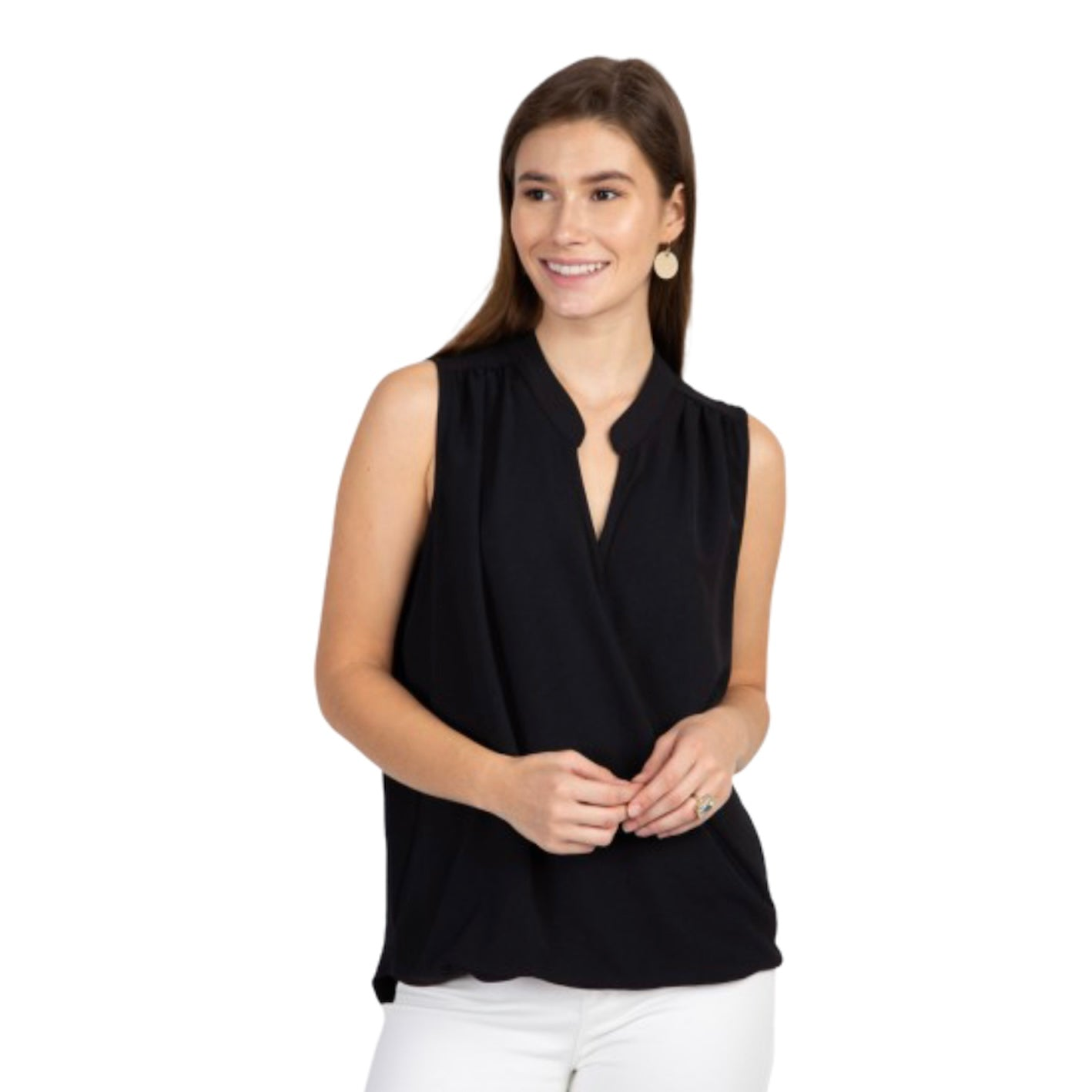 Stretch Woven Surplice Sleeveless Top - Impulse Jewelry and Accessories