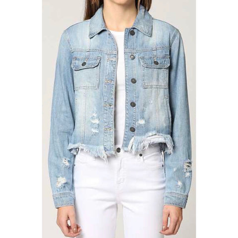 Distressed Super Soft Denim Jacket - Impulse Jewelry and Accessories