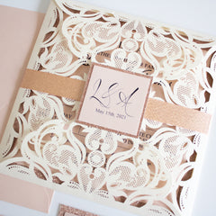 Fabulous Ivory Blush Pink And Rose Gold Lace Laser Cut Wedding Invita Say It With Print